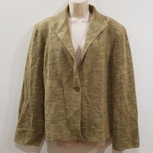Jones New York 16 Women's green linen blend blazer